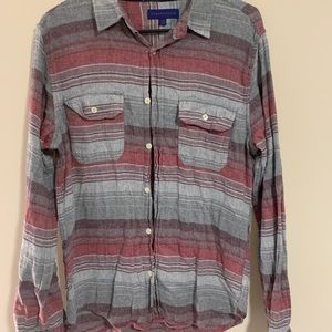 Red/Grey Striped Flannel Long Sleeve